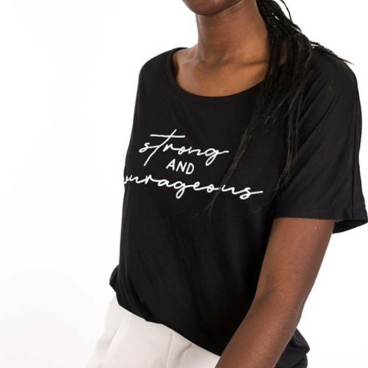 'Strong & Courageous' black flowy T-shirt
