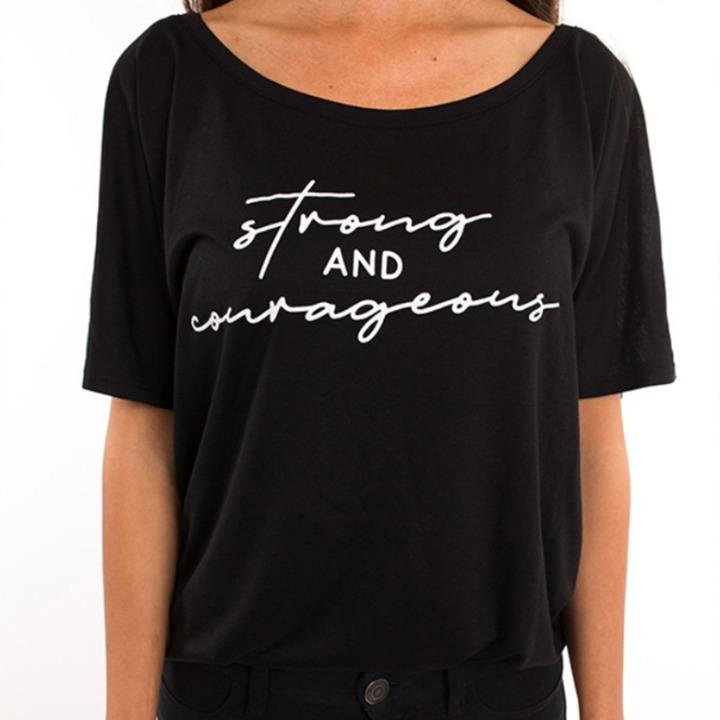 'Strong & Courageous' black T-shirt