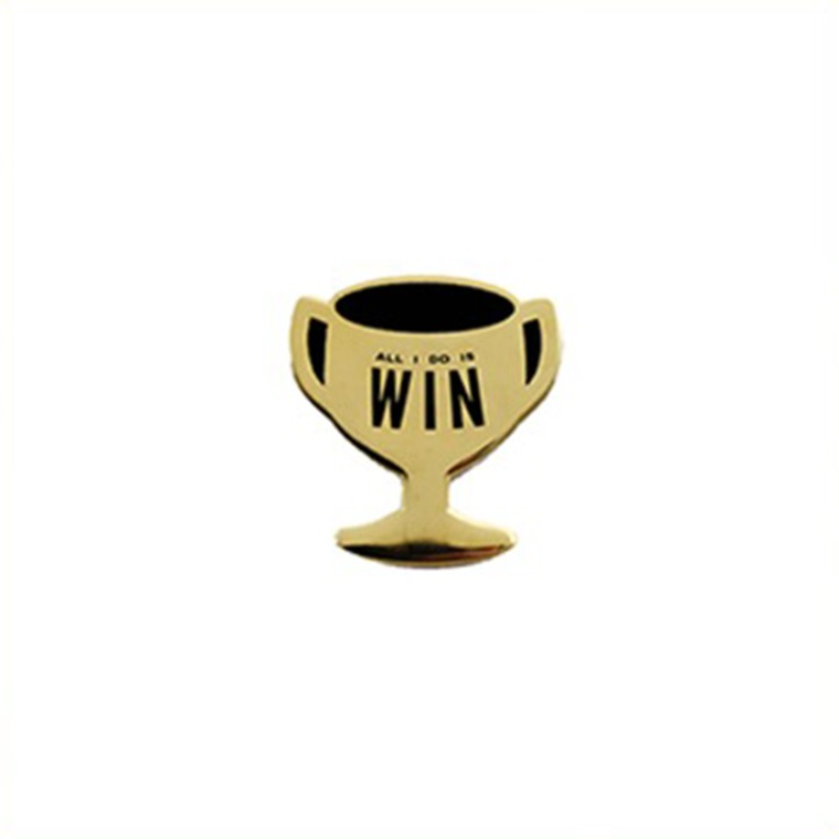 """All I Do Is Win"" Gold Trophy cup lapel pin"