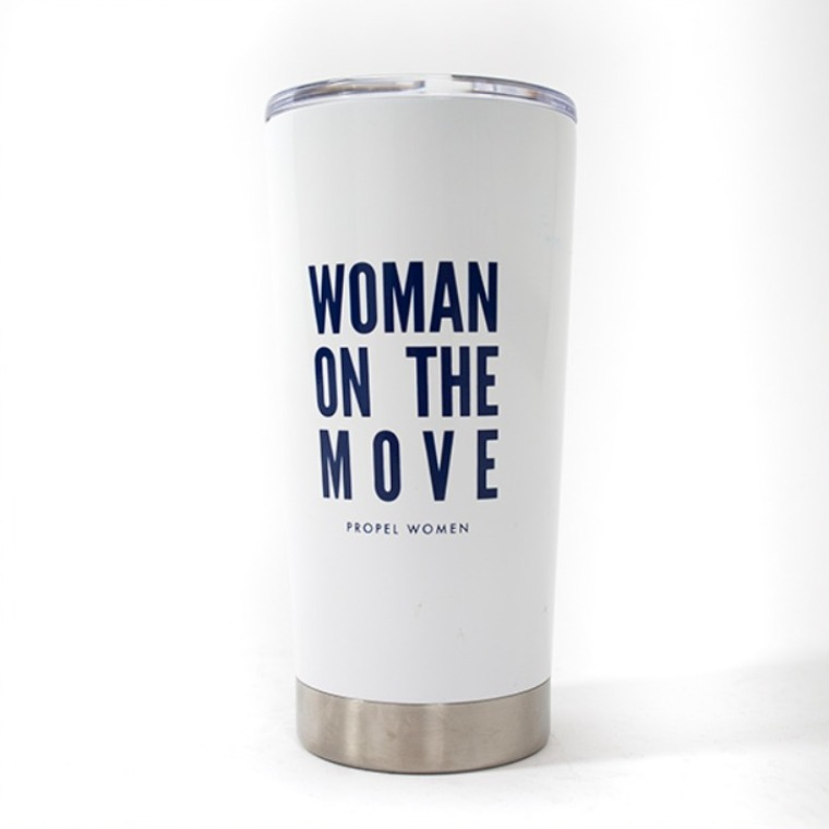 Woman On The Move Tumbler: White cup, blue text
