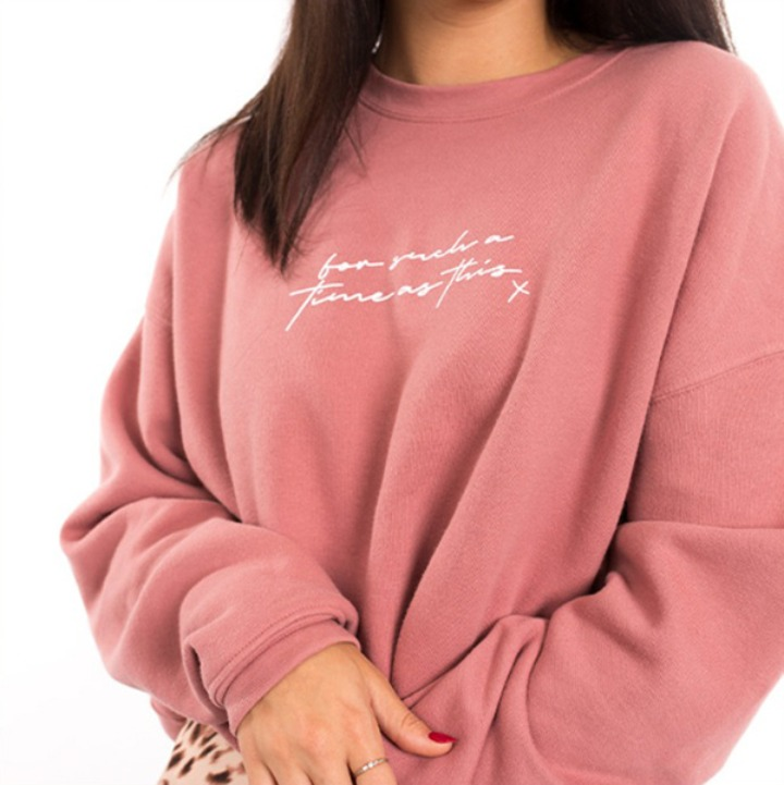 'For Such a Time As This' pink crewneck sweatshirt
